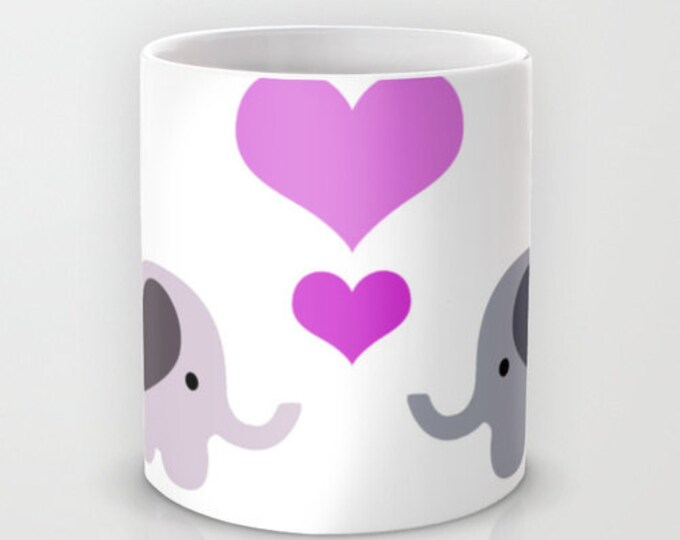 Elephant Love Mug  - Coffee Mug -  Coffee Cup - Two Elephants with Hearts -  Hearts with Elephants - 11 oz - 15 oz - Made to Order