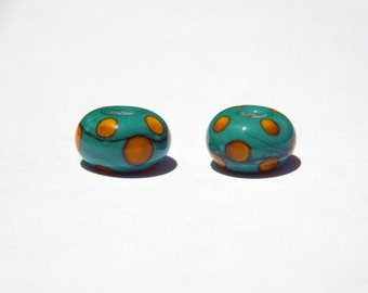 Green and Yellow Dots Set of 2 Beads