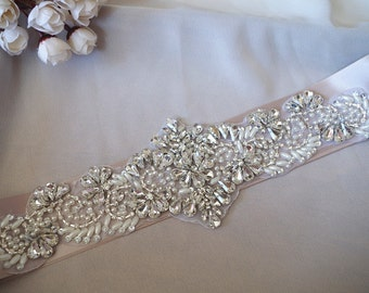crystal sash applique, bridal belt applique, bridal sash applique, wedding sash applique