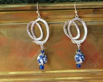 Cobalt Blue Silver Earrings, Delft Blue Silver Earrings, Blue Chandelier Earrings, Chandelier Earrings