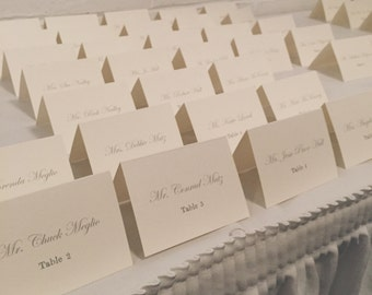 Wedding Escort Cards/Place Cards / Cream, Bi-fold Table Tents (set of 25)