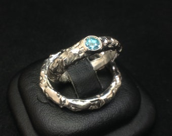 IceBand Wedding Rings with a Topaz, Organic Solid Silver band with Ice Finish (Set of 2) Handmade, Made In Italy