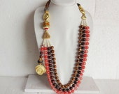 NEW !! Strand Necklaces / Asymmetrical Jewelry / Indian Beaded Statement Necklace - Multi-Layered necklace with side hang