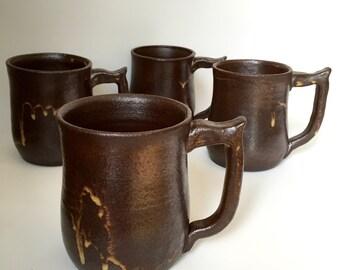 Chocolate Brown Mugs - Set of 4