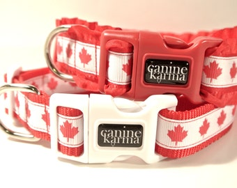 "Canada Day Dog Collar - 1"" Adjustable Canadian Collar"