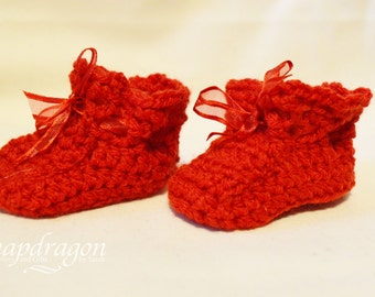 Cute red crochet newborn baby booties