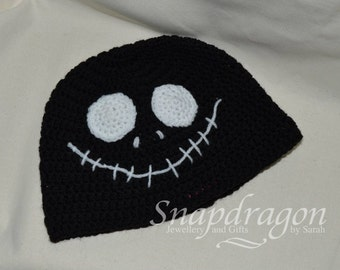 Jack Skeleton crochet hat. Adult sized,  made to order