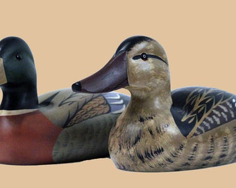 Pair of Hen and Drake Decoys