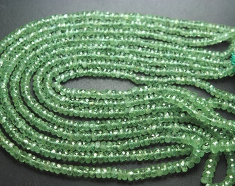7 Inch Strand,Superb-Finest Quality Natural Green KYANITE Faceted Rondelles,3-4mm size