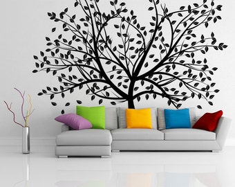 Vinyl Wall Decal Stylish Huge Tree with Branches & Falling Leafs / Nature Art Decor Home Sticker / Removable Mural + Free Random Decal Gift