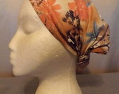 361 Coral with Blue Flowers Linen & Rayon Short Headband Cover Scarf