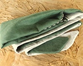 364 Vineyard Green 100% Linen Long Head Band Cover with Natural Linen Fringe Trim and Two Toned Long Wrap Ties