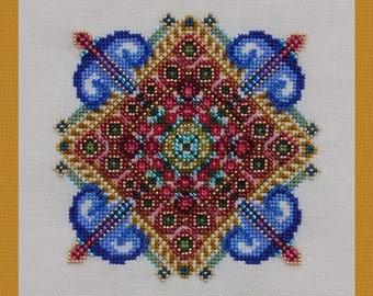 Cross Stitch Christmas Ornament Instant Download PDF Pattern Winter Flowers Holidays Counted Embroidery Design Geometric Mandala X Stitch