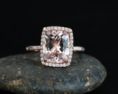 CUSTOM Reserved For Courtni FIRST PAYMENT Morganite Engagement Ring in 14k Rose Gold with Morganite Cushion 10x8mm