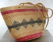 Vintage Boho Woven Sisal Bag Tote Shoulder Bag Woven straw tote bag Lined Summer bag