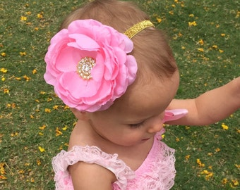 Pink and Gold Headband..Birthday Headband.Pink and Gold Baby Headband.Baby Girl Headband..Headband..Pink Headband..Headband..1st birthday