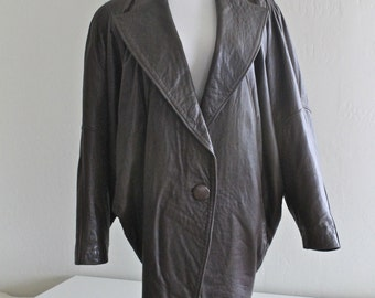 SALE 20% OFF: 1980's Taupe Leather Cocoon Coat by Santini