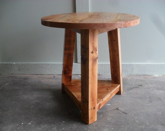 Cricket table made in the USA from reclaimed wood