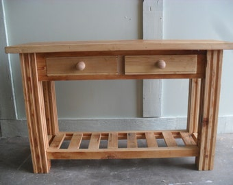 Sofa table made from reclaimed wood custom made in the USA