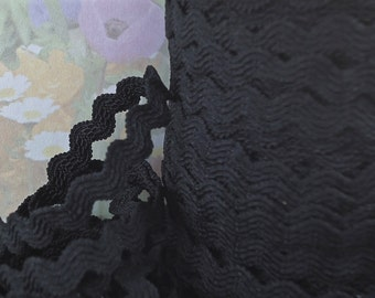 3 yards Stretch Black Rick Rack Ric Rac Elastic Band for Sewing Trim Waistband 1/4 inch  7 mm wide width Picot