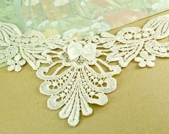 Venice Lace Appliqué Trim Ivory Yolk Neck appliqué diy wedding sewing notions lace patch Yoke lace for sewing