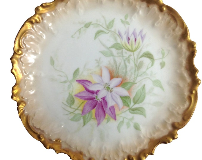 Limoges Plate, Antique Limoges Floral Hand Painted Plate Embossed Scalloped Gold Edge 7 5/8 Inch, Coiffe Factory