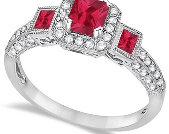 Ruby and Diamond Engagement Ring 14k White Gold (1.35ctw)