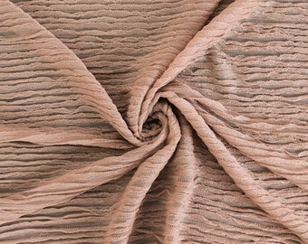 Rose Gold Micro Ruffle Knit Fabric by the yard - 1 Yard Style 6521