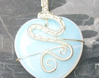 Wire Wrapped Opalite Pendant by Rebecca Weber