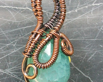 Wire Wrapped Dragon Vein Agate Pendant by Rebecca Weber