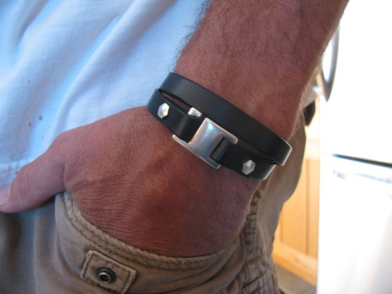 Back In Stock! Men's Black Leather Bracelet-Genuine Italian Leather Wrap Bracelet- Double Wrap