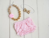 Pink and Gold Birthday Outfit - Baby Girl 1st Birthday Outfit - Girls First Birthday outfit - Cake smash outfit