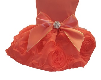 Dog Dress, Orange Satin with ruffled skirt Emblished with Rhinestone button at waist