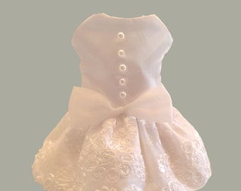 Dog Wedding Dress, White Satin with Bridal Lace