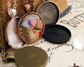 """10 Pendant Tray Kits- 10- 25mm 1 inch pendant tray. 10- 25mm 1 inch round glass cabochon. 10- 24"""" or 30"""" inch Ball chain or rolo chains."""