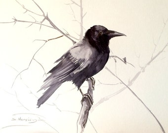 Raven, Original watercolor large painting, 24 X 18 in, black and white watercolor art