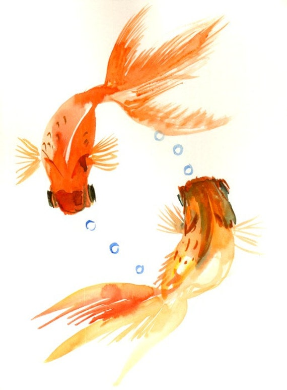 Two goldfish painting orange goldfish koi fish 12 x 9 in for Orange coy fish
