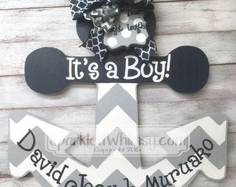 Birth Announcement - Door Hanger - Personalized Chevron Anchor Baby Announcement Door Hanger Sign (Navy Blue/Gray Sky)