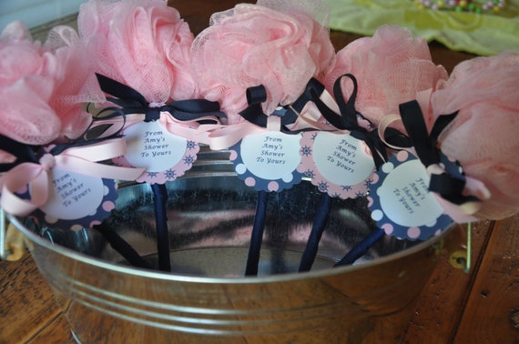 Nautical pink and navy unique baby shower favor bath puff baby - Unique baby shower theme ideas ...