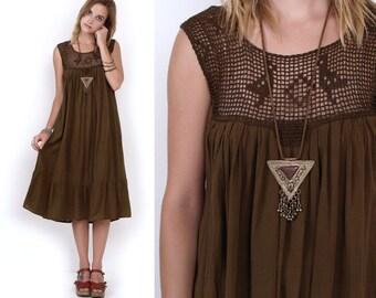 70's Cocoa BIRDS Mesh Cut Out Cotton Hippie Boho Vintage Tent BabyDoll Summer Festival Mini Maxi Dress