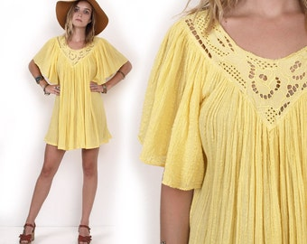 70's Grecian Gauze Yellow Angel Flutter Sleeves Cut Out Embroidered Cotton Tent Trapeze Boho Hippie Vintage Mini Dress