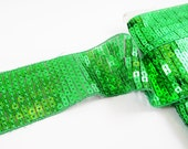 Emerald Green Sparkly Square Sequin Border Trim Lace Ribbon - 1.81 inches - 1 Meter  or 3.3 Feet or 1.09 Yards