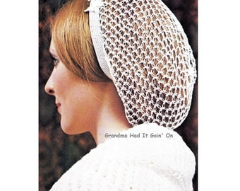 Vintage Snood Hair Net Hat Crochet Pattern - Hair Net - Hair Wrap Crochet Wedding Snood Pattern - PDF Instant Download - Digital Pattern