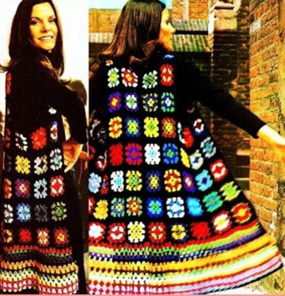 Crochet Pattern Long Waistcoat In Granny Squares Tunic Jacket