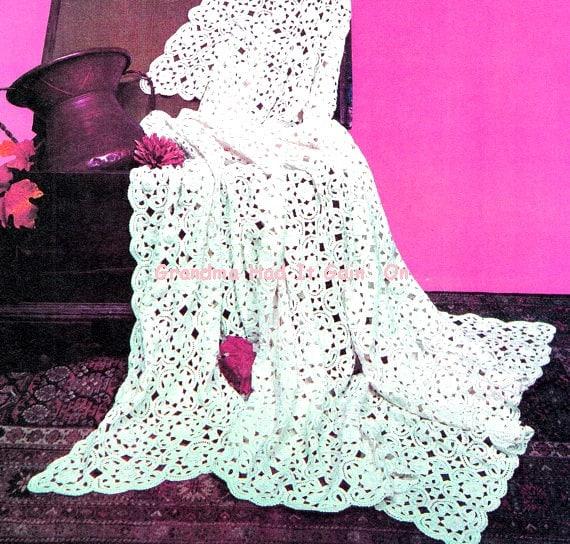 Irish Lace Crochet Afghan Pattern : Irish Lace Bedspread Crochet Pattern Blanket Pattern