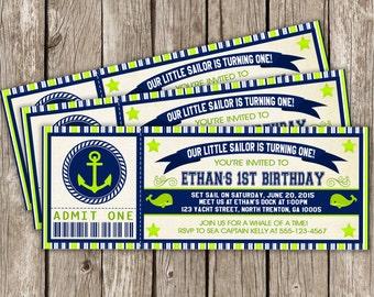 Vintage Nautical Ticket Invitation - Nautical Birthday Party Invitation - Boy Birthday Party - DIY Printable