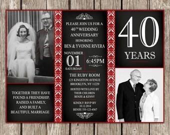 40th wedding anniversary invitation ruby anniversary party