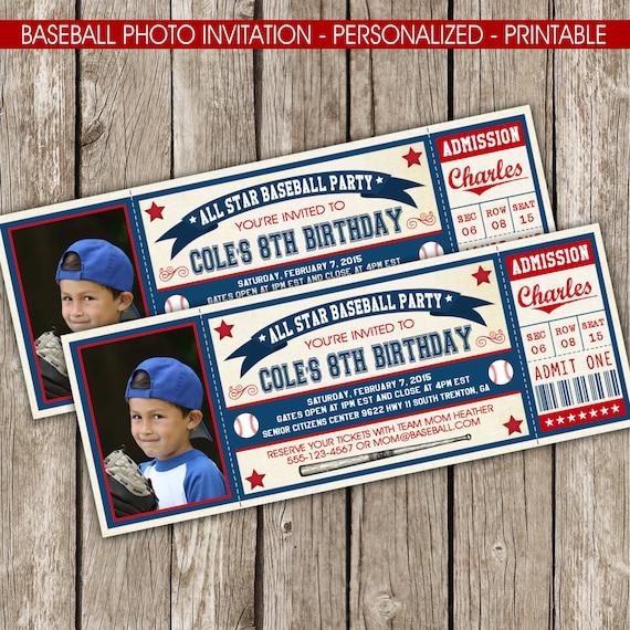 Vintage Baseball Birthday Invitations: Vintage Baseball Ticket Photo Invitation Baseball Birthday