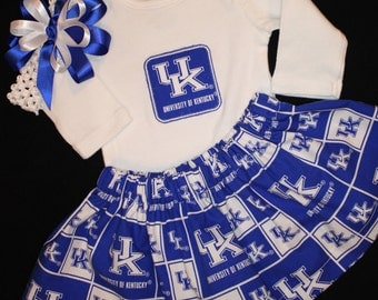 University of Kentucky girl's 3pc bodysuit set