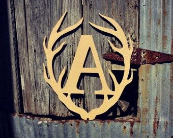 Deer Antler Monogram, Wooden Letter, Door Hanger, Unfinished, Wall Art